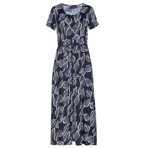 Długa sukienka z założeniem kopertowym bonprix brązowo-złoty, kolor niebieski