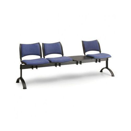 Tapicerowana ławka do poczekalni SMART, 3 siedzenia + stołek, szary, czarne nogi