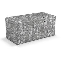 Dekoria  skrzynia tapicerowana, białe kwiaty na szarym tle, 90x40x40 cm, brooklyn