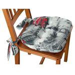 Dekoria siedzisko marcin na krzesło, szare motywy londynu, 40x37x8cm, freestyle