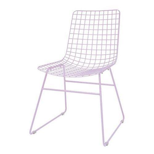 Hk living krzesło metalowe wire liliowe mzm4793