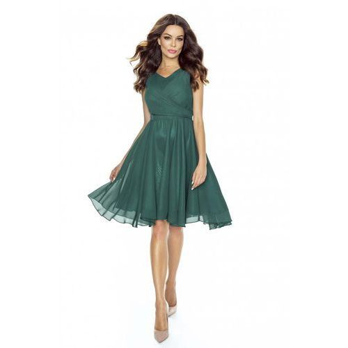 Zielona Sukienka Koktajlowa z Szyfonu, w 4 rozmiarach