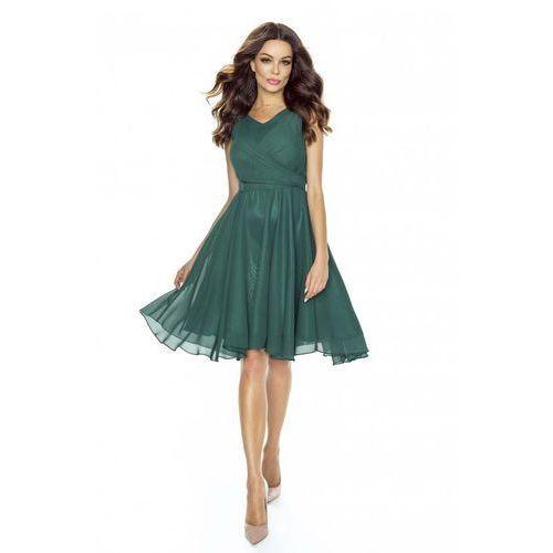 Zielona Sukienka Koktajlowa z Szyfonu, w 5 rozmiarach