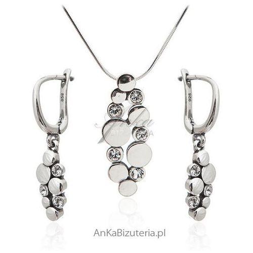 Komplet biżuteria srebrna z cyrkoniami, kolor szary