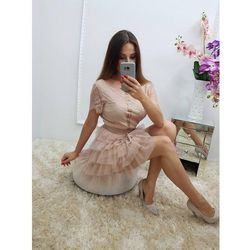 Koronkowa sukienka - Pudrowy róż