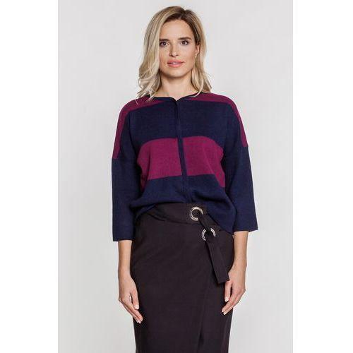 Granatowo-cyklamenowy sweter na napy - Patrizia Aryton, kolor niebieski