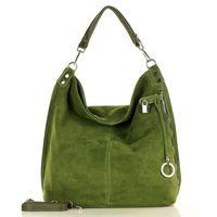 Miejska torebka worek skórzana - zieleń militare
