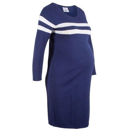 Sukienka dzianinowa ciążowa kobaltowo-biały w paski, Bonprix, 32-54
