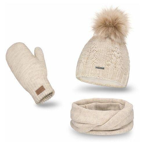 Pamami Komplet , czapka, komin i rękawiczki - beżowy