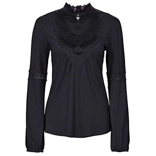 Shirt z koronką i długim rękawem czarny marki Bonprix