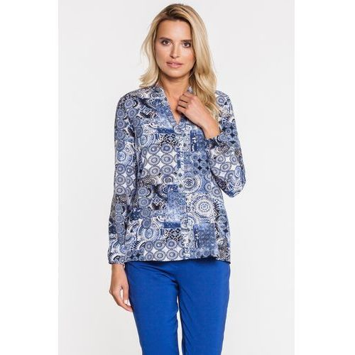 86802c2e5b Zwiewna bluzka w tureckie wzory z długim rękawem - Ennywear