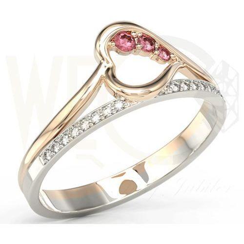 Węc - twój jubiler Pierścionek z różowego i białego złota z rubinami i brylantami bp-83pb - różowe i białe \ rubin
