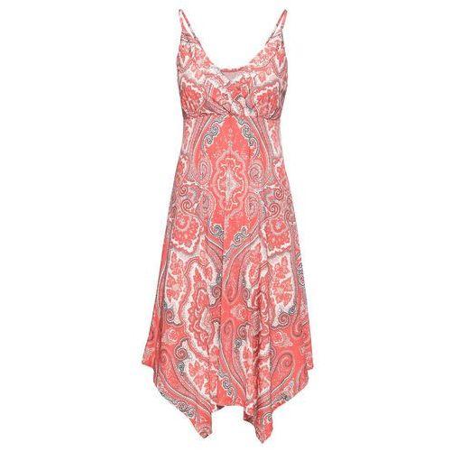 Sukienka z nadrukiem bonprix koralowo-szaro-biel wełny z nadrukiem, w 4 rozmiarach