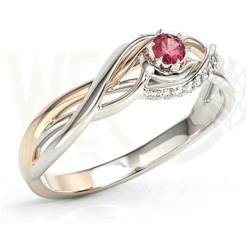 Pierścionek z białego i różowego złota z rubinem i brylantami BP-71BP-RUB/D - Białe i różowe \ Rubin, kolor różowy