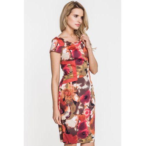 Sukienka w kwiaty - Chiara, kolor pomarańczowy