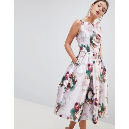 8c4ec67c Midi Dress in Floral Print - Pink (Chi Chi London)