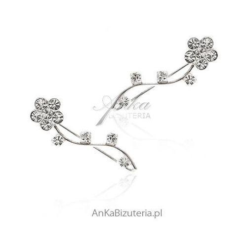 Kolczyki srebrne nausznice z cyrkoniami, kolor szary