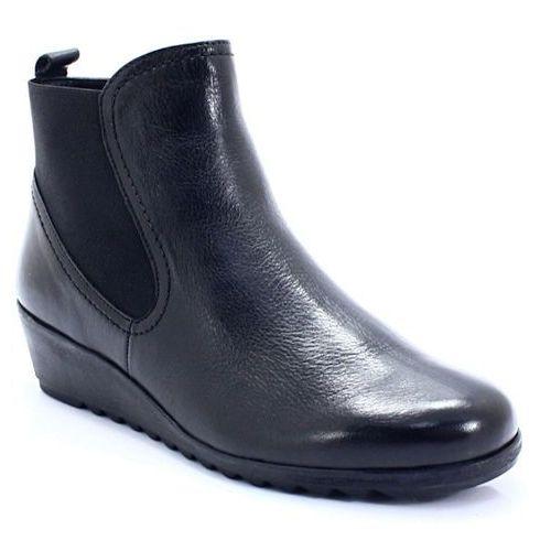 Caprice 9-25409-21 czarne - botki na koturnie