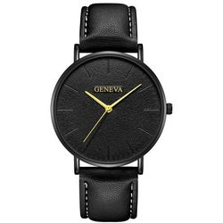 Geneva Zegarek damski męski złote wskazówki - black gold