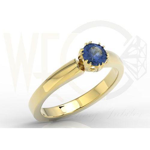 Pierścionek zaręczynowy z żółtego złota z szafirem bp 2130z marki Węc  twój jubiler