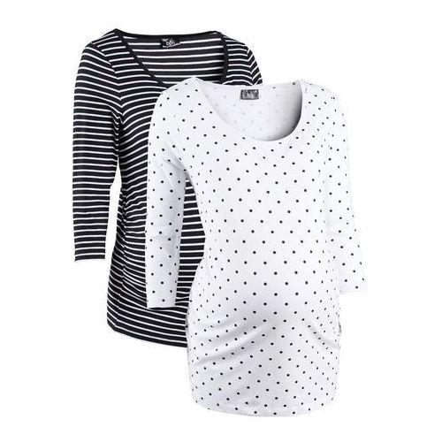 Shirt ciążowy biznesowy (2 szt.), bawełna organiczna bonprix biały w groszki + w paski, kolor biały