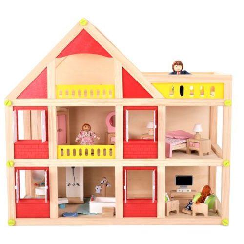 Drewniany domek dla lalek z meblami + 3 lalki gratis! (5900168932203)