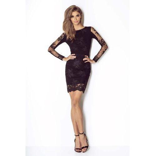 8453c9c739 Czarna koronkowa wieczorowa sukienka ołówkowa