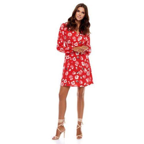Sukienka Regi czerwona w kwiaty, w 3 rozmiarach