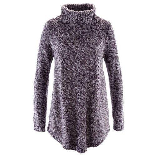 Sweter poncho, długi rękaw ciemny lila melanż marki Bonprix