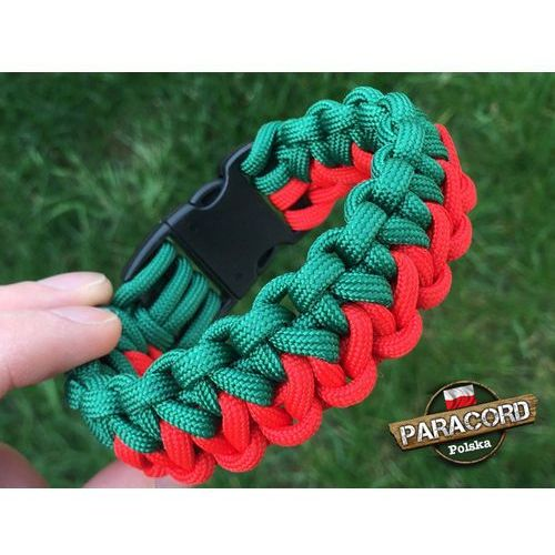"""Bransoleta z Paracordu typ """"Two Face"""" z wplecioną plastikową klamrą, kolor """"Red - Green"""""""