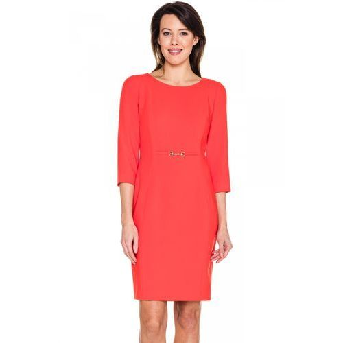 Pomarańczowa sukienka ze złotą ozdobą - L'ame de Femme, 1 rozmiar