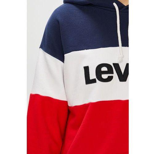 levis granatowo bialo czerwona bluza damska