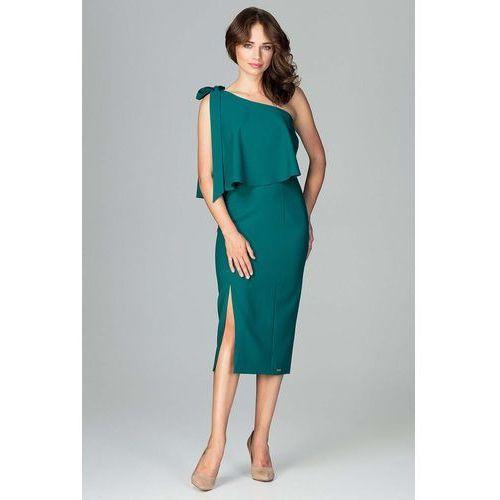 94fbf82cd8 Zielona Koktajlowa Dopasowana Sukienka na Jedno Ramię