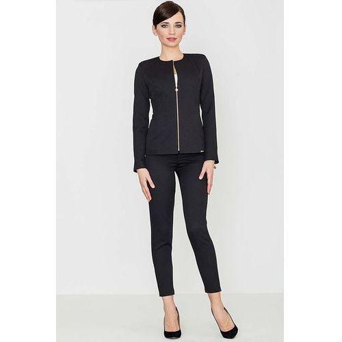 Czarna Eleganckie Spodnie z Suwakami