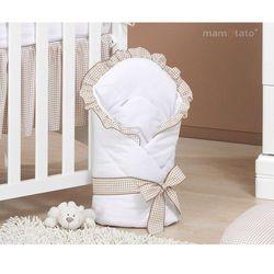 MAMO-TATO Rożek niemowlęcy usztywniony z falbanką Śpiący miś/Miś z serduszkiem/Śpioch na chmurce/Wesołe zajączki/Tulisie/Śpioch w hamaku brąz z białym