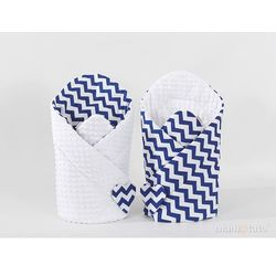 rożek niemowlęcy dwustronny minky zygzak granatowy / biały marki Mamo-tato