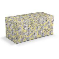 skrzynia tapicerowana, białe kwiaty na żółtym tle, 90x40x40 cm, brooklyn marki Dekoria