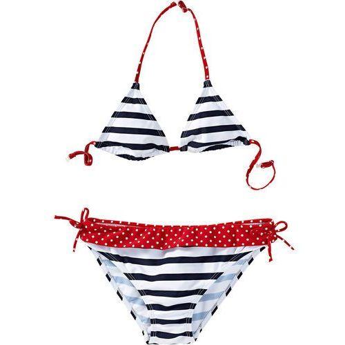 6c2e7f9f213d77 Bikini dziewczęce (2 części) ciemnoniebiesko-biały w paski marki Bonprix