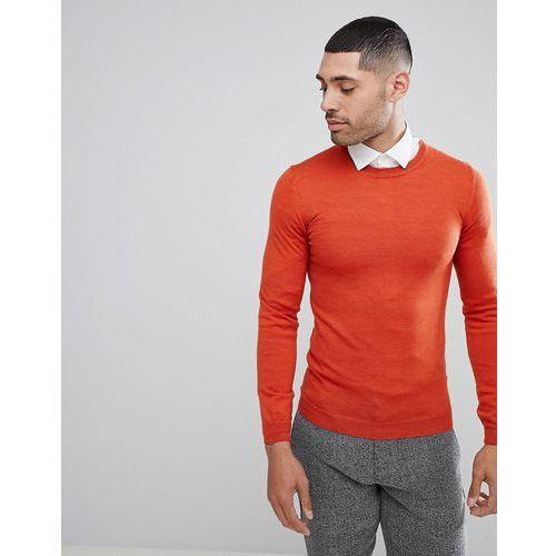 Asos muscle fit merino wool jumper in orange - orange