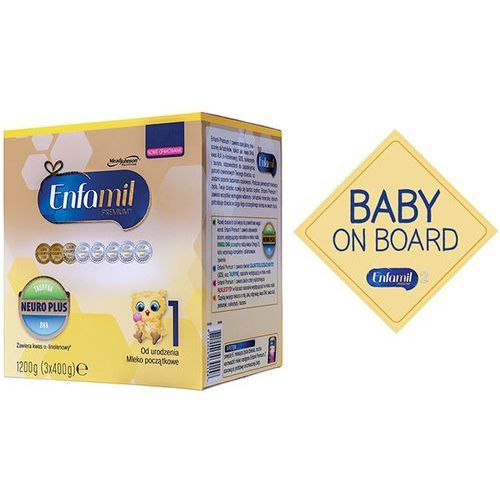 Enfamil Zestaw 1200g premium 1 mleko początkowe od urodzenia + baby on board przyssawka na szybę do samochodu enfamil