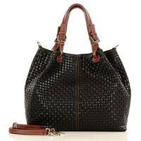 Czarna włoska torebka typu shopper - carina treccia