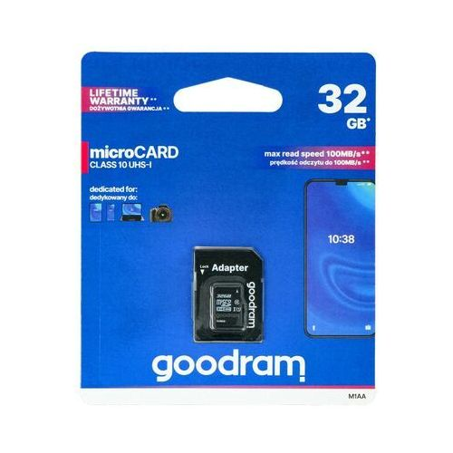 GOODRAM microSDHC 32GB class 10 UHS I + adapter - M1AA-0320R12 (5908267930144)