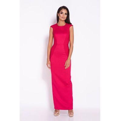 72b8a5ac5d Malinowa elegancka długa sukienka z wycięciem na plecach