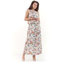 Eccru długa letnia sukienka w kwiatki wiązana na karku