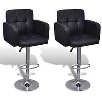 vidaXL 2 regulowane stołki barowe z podłokietnikami ze sztucznej skóry czarne