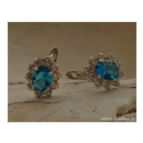 ANDAMAN - srebrne kolczyki z akwamarynem cyrkonie, kolor niebieski