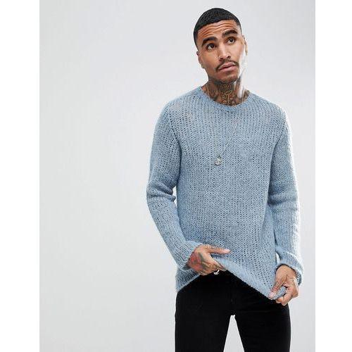 ASOS Open Stitch Jumper In Mohair Wool Blend In Blue - Blue, w 3 rozmiarach