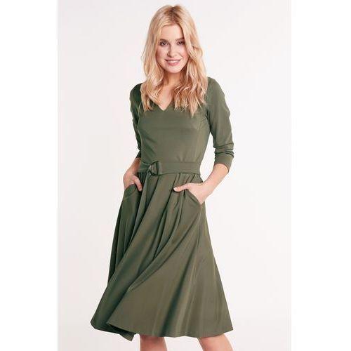 e14dc443 Sukienka rozkloszowana khaki, kolor zielony (Carmell)
