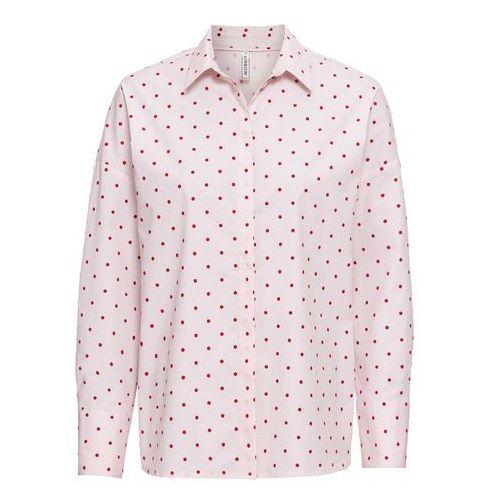 Biała bluzka, długi rękaw bonprix zielony oceaniczny, kolor różowy