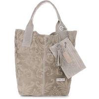 VITTORIA GOTTI Made in Italy Torebka Skórzana Shopperbag w Tłoczone Wzory Beżowa (kolory)